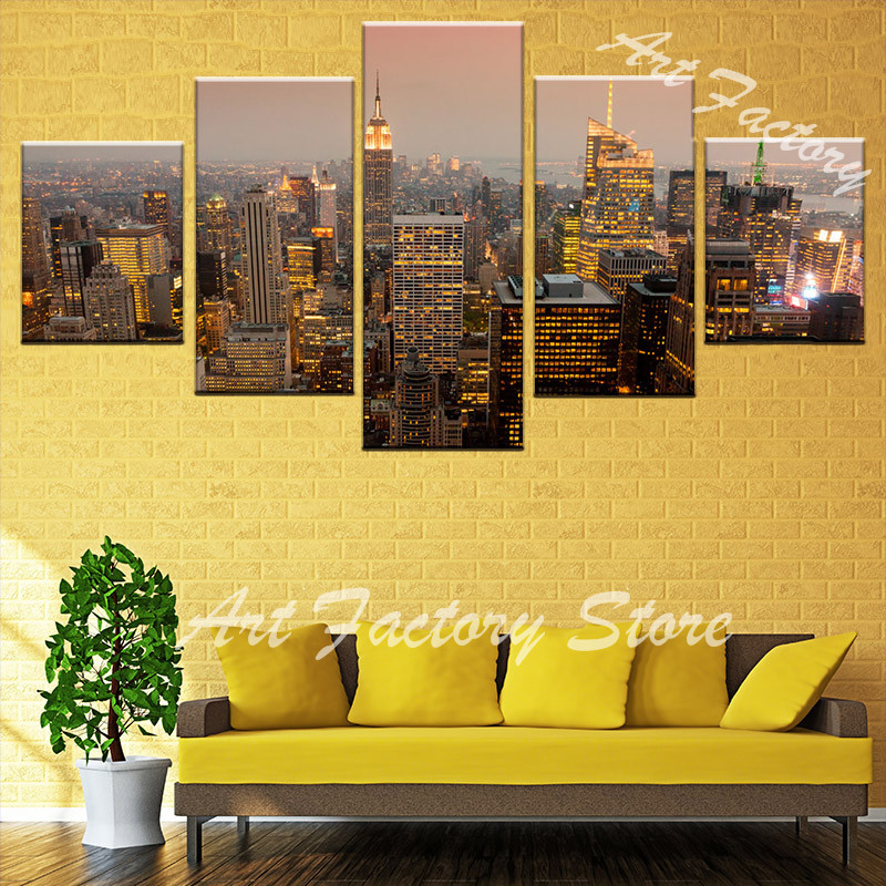 panoramic city in evening Canvas HD Prints Pictures Modular Wall Art ...