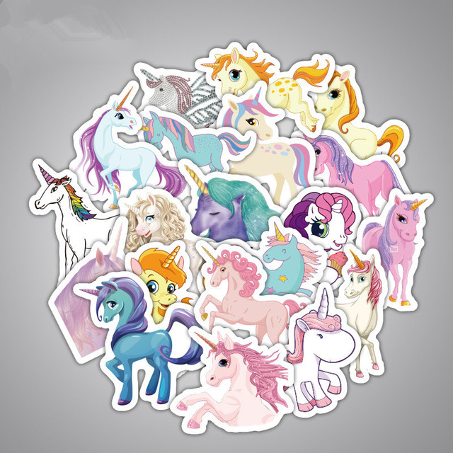 33pcs/set of unicorn Sticker Car Stickers Versions for luggage on Motorcycle Suitcase Home Decor Phone Laptop Covers DIY Y180706