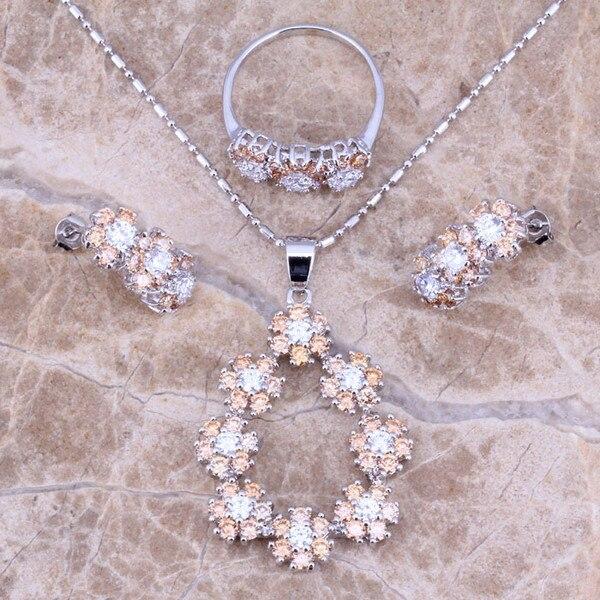 058aede707f5 Champagne morganite blanco CZ plata Juegos de joyería Pendientes anillo  pendiente tamaño 6 7 8 9 10 envío s0151