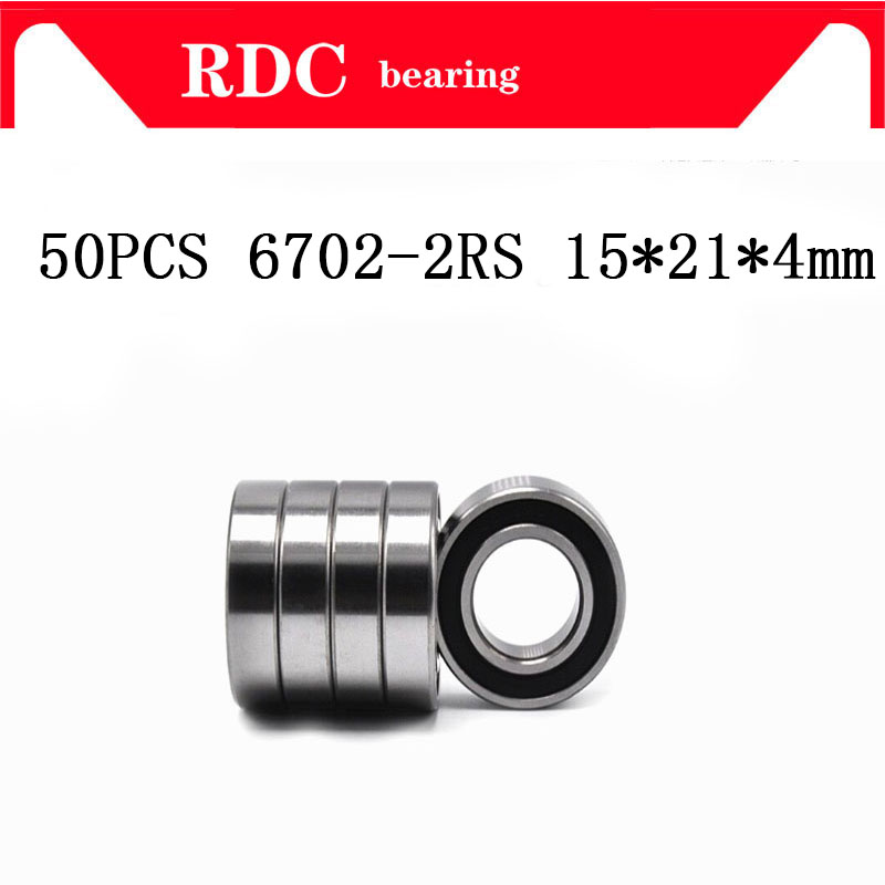 Free Shipping 50PCS ABEC-5 6702-2RS High quality <font><b>6702RS</b></font> 6702 2RS RS 15x21x4 mm Miniature Rubber seal Deep Groove Ball Bearing image