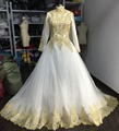 Modest Muslim High neck long sleeves wedding dresses Real Made gold lace appliques ball gown Saudi Arabia Wedding Gown Vestidos