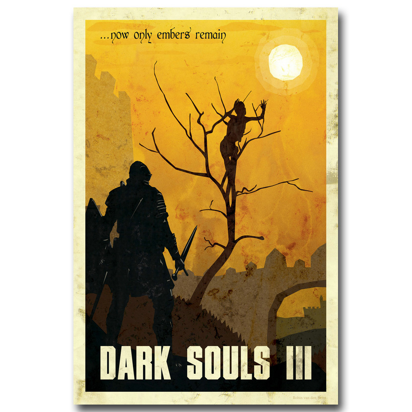 Dark Souls 1 2 3 Art Silk Fabric 포스터 인쇄 Wall Decor 004의 13x20 24x36inch 게임 벽 사진
