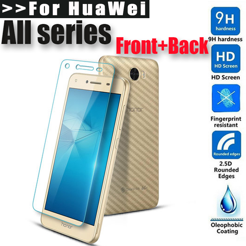 For Huawei Honor8 V8 V9 V10 5A 5X 6X Front+Back Screen Protector Tempered glass Film For Huawei P8 P9 P10 Plus lite