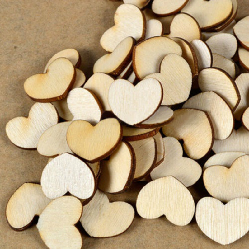 100pcs Wooden Love Heart Shape for Weddings Plaques Art Craft Embellishment Best