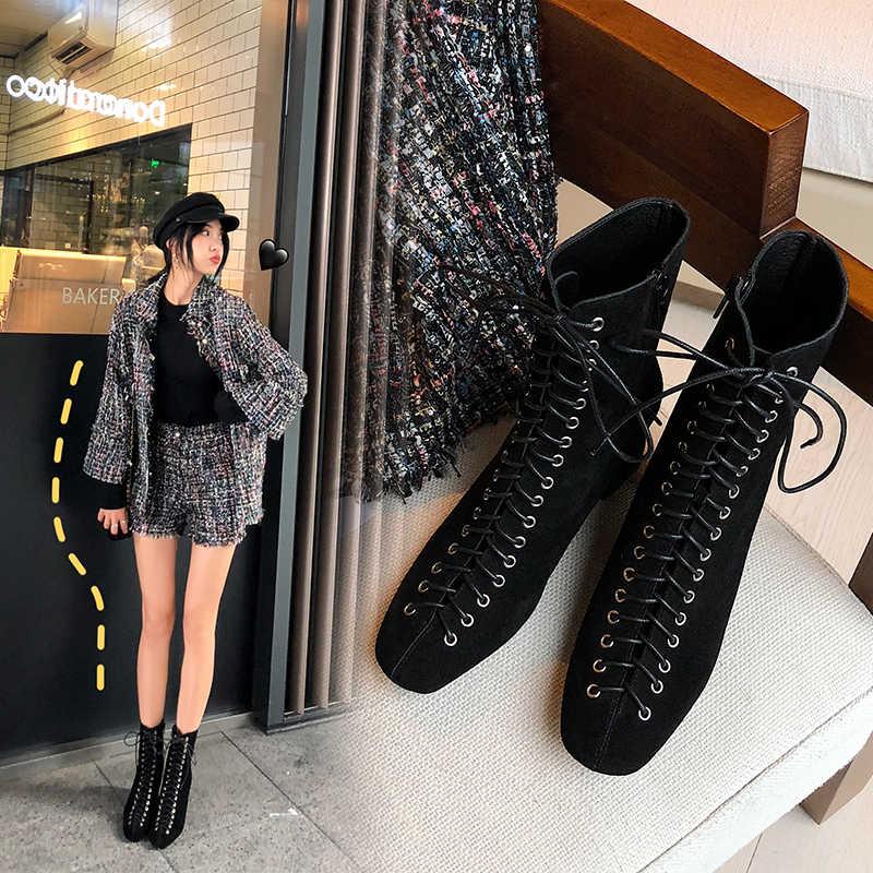 Kadın yarım çizmeler hakiki deri 22-25.5 cm ayak uzunluğu inek derisi + inek süet Retro modern Martin çizmeler yarım çizmeler için kadın