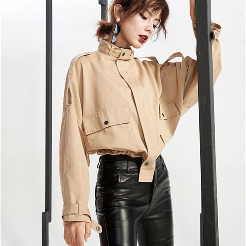 Femelle hg Lyh1210 De Madarin Manteau Couleur Mode Army Corée Lyh1210 Veste Complet Collier Automne Poche Unie Manches Femmes 2018 Green Arrivée khaki Nouvelle UwqIrUOx