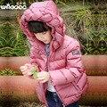 Зима 2016 девушки одежда комбинезоны цветок с капюшоном вниз куртка дети толстые пальто детей куртки и пальто для девочки утка вниз