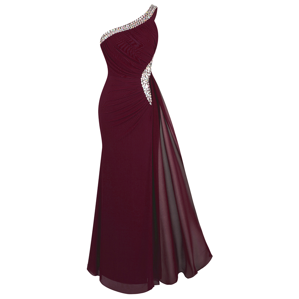 Angel-fashions Women's One Shoulder Evening Dress Long Pleated Beading Formal Party Gown Wine Red 411