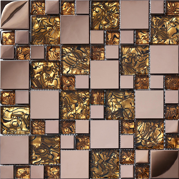 Rose Gold gold stainless steel metal glass mosaic tile kitchen backsplash bathroom shower TV background decor wall tile,SA073-16 rose gold stainless steel metal mosaic glass tile kitchen backsplash bathroom background decorative art mosaic wall tile sa073 9