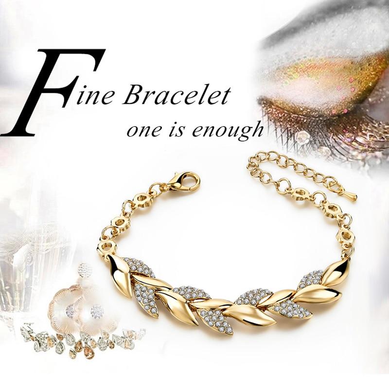Braided Gold color Leaf Bracelets & Bangles  1