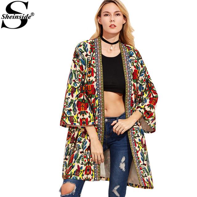 Sheinside Europeu Trench Coat Mulheres Casacos Básicos Colorido Fita Detalhe Da Frente Aberta Outerwear Com Estampa Tribal 3/4 Casaco Manga