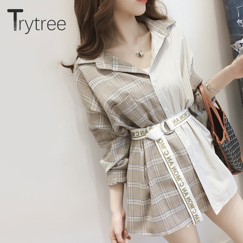 Ttytree Autumn Asymmetrical Plaid Blouses Casual Shirt Women Turn-down Collar Single-breasted Letter Sashes Tops Long Shirts
