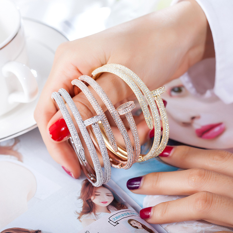 Luxury brand stainless steel full cz stones nail love bangle cuff bangle for women fashion double nail bracelet gift hot sell middle east brand titanium steel leopard bracelet bangle for women double wire full drill bangles bracelet top quality