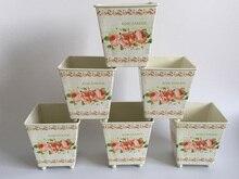 6 шт./лот D10 * H10CM квадратные металлические цветочные горшки, свадебные декоративные цветочные горшки