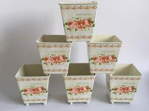 Image 1 - 6 Pz/lotto D10 * H10CM Quadrato In Metallo Fioriera di Ferro vasi di fiori Da Sposa fiore decorativo Vasca