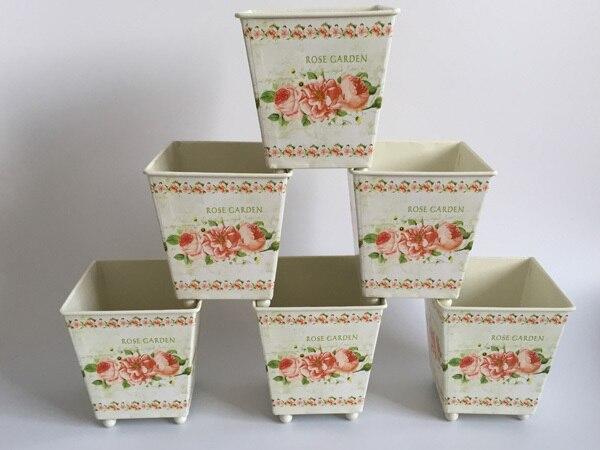 6Pcs/Lot D10*H10CM Square Metal Planter Iron flower pots Wedding decorative flower Tub