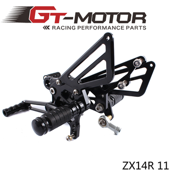 GT Motor - Full CNC Aluminum Motorcycle Adjustable Rearsets Rear Sets Foot Pegs For KAWASAKI ZX14R ZX-14R ZZR1400 2011