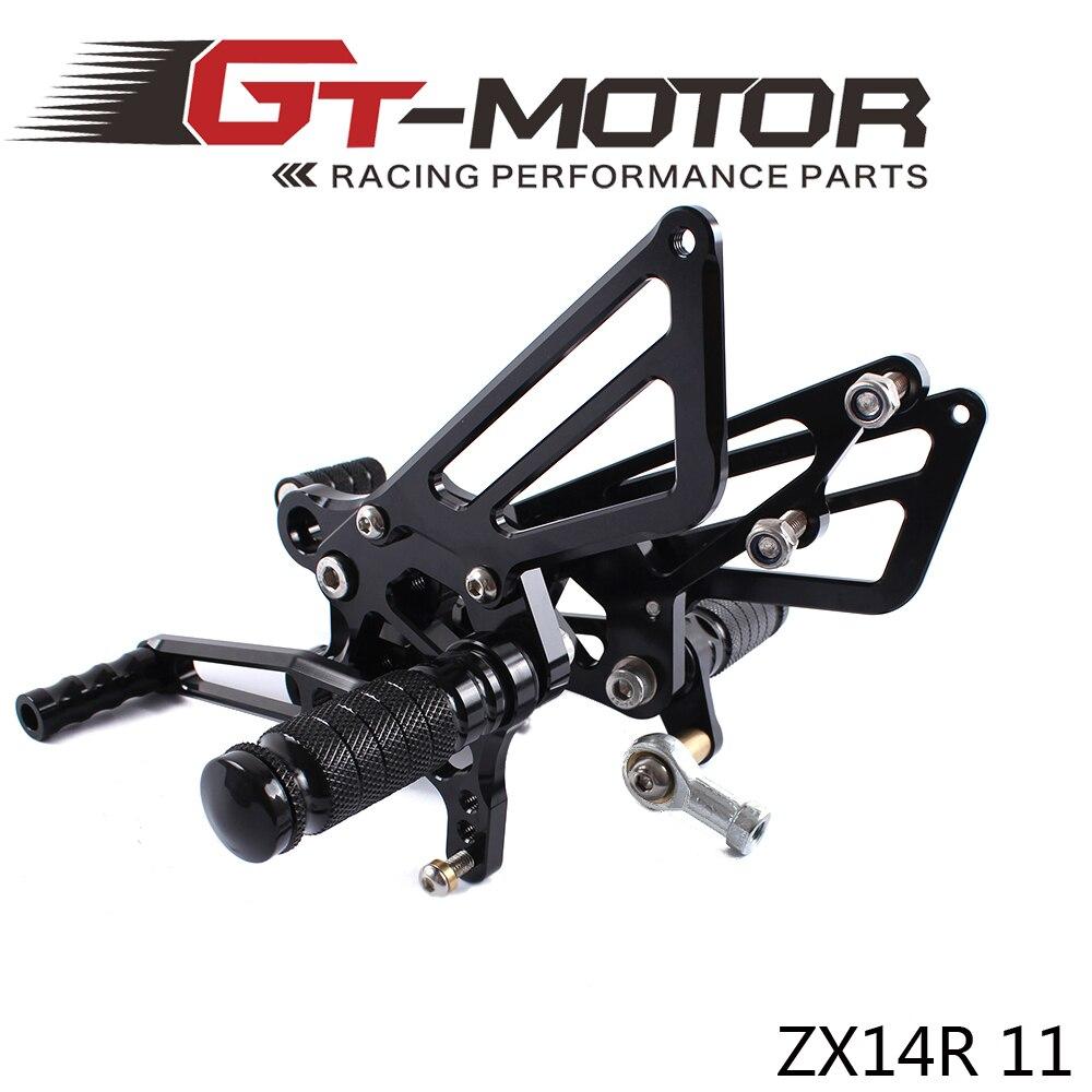 ФОТО GT Motor -Full CNC aluminum Motorcycle Rearsets Rear Set For KAWASAKI ZX14R ZX-14R ZZR1400 2011