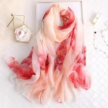 190*135cm large size scarf silk women 2019 new shawls and wrap elegant lady floral printed pashmina winter scarves hijab bandana