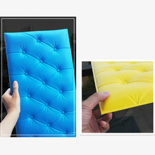 Hot 3D Wall Sticker Solid Color PU Leather Foam Decal for Parlor Office FQ-ing