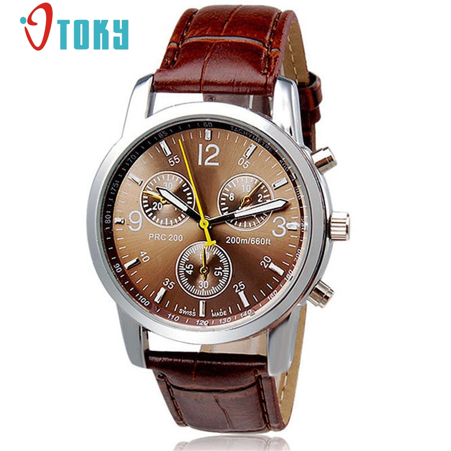 OTOKY Wristwatches Male Brown Faux Leather Quartz Watches Wrist Watch for Men Gift 1pc Relogio Masculino