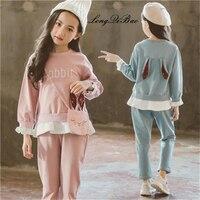 Autumn cotton suit girls 2018 new autumn fashion cute children's ocean tide clothes big children rabbit three piece
