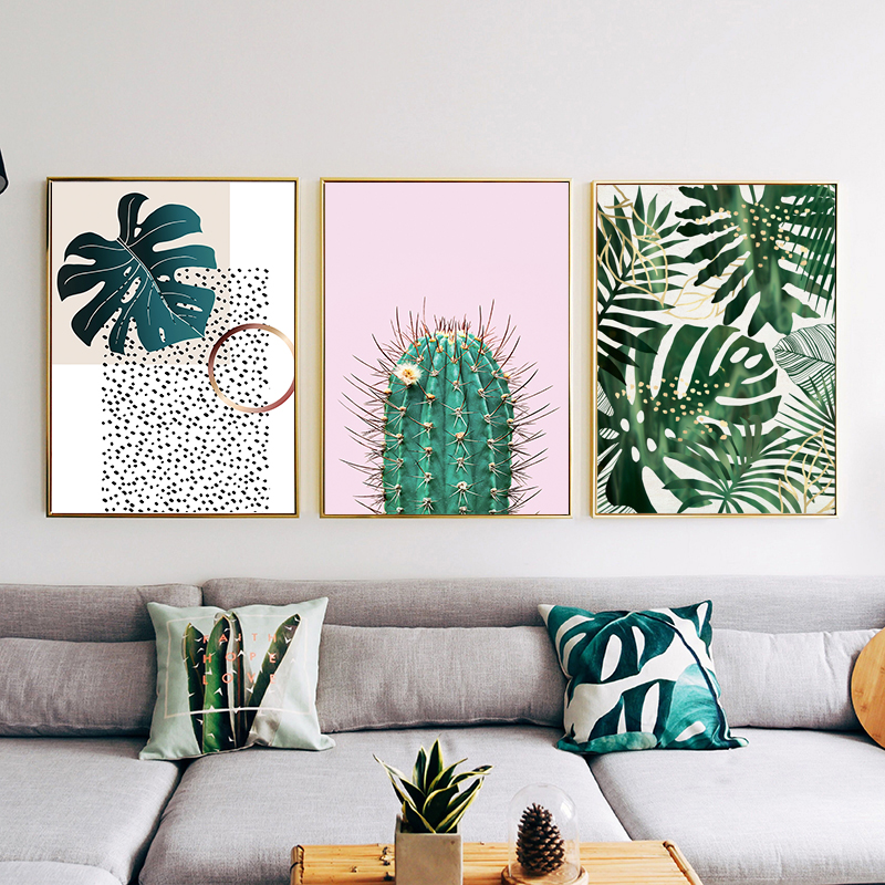 Nordic Style Plant Tropical Leaf Flower Cactus Canvas