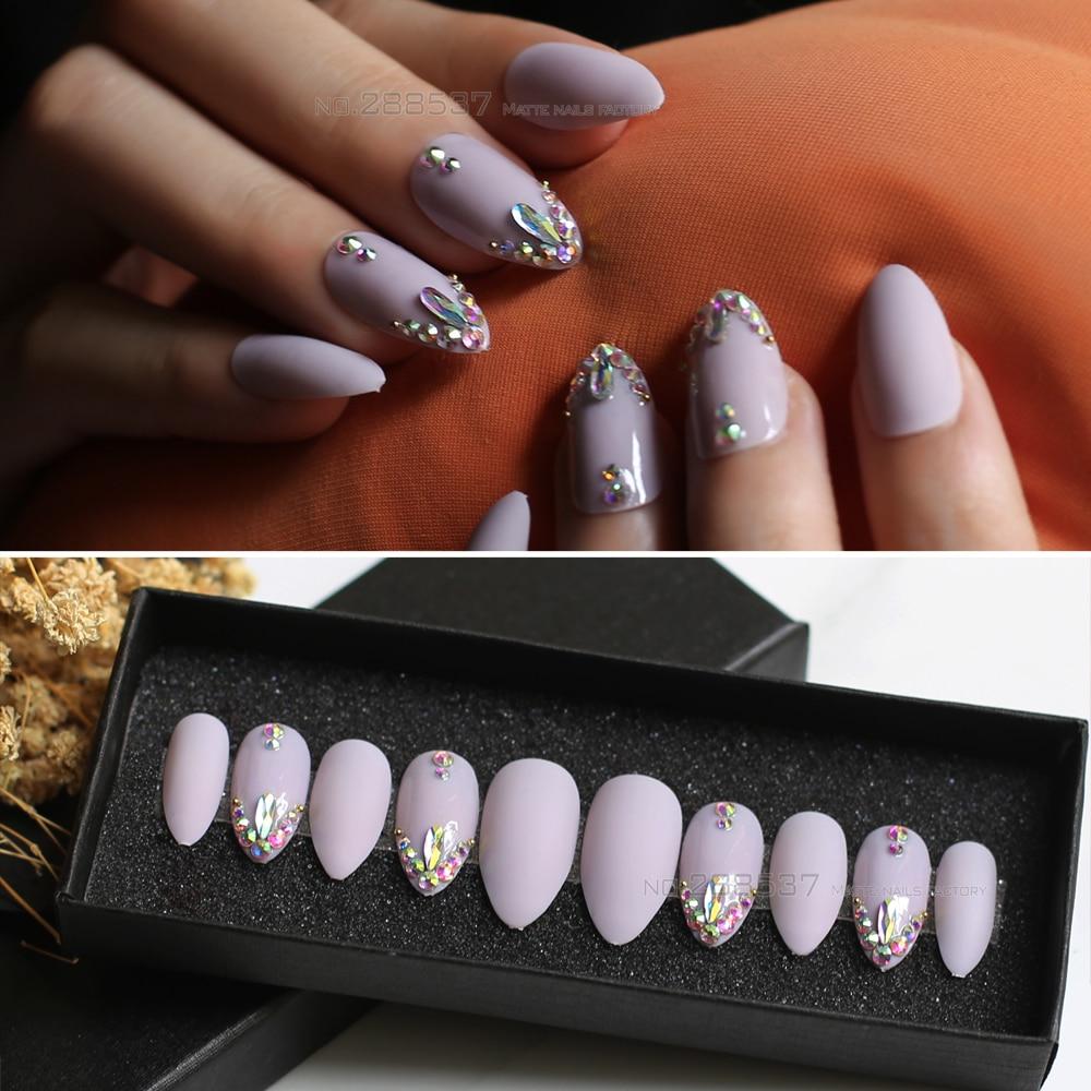 10PCS 24PCS Boxed Matte pink nude stiletto nails false nail DIY 3d shiny press on fake nails Finished Handmade Bling crystal