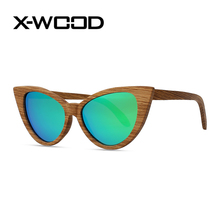 X-WOOD Зебра древесины Солнцезащитные очки Для женщин поляризационные Солнцезащитные очки Для мужчин Cateye дизайнер Солнцезащитные очки зеркало солнцезащитных очков люнет De Soleil Femme