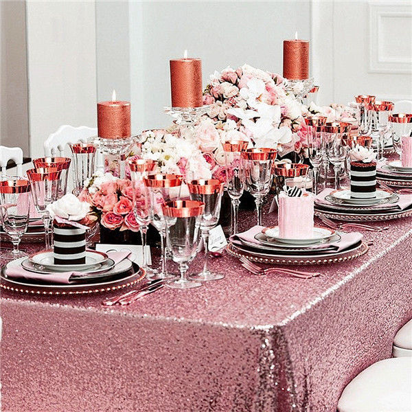 Sparkly Pink Goldsilver 3mx3m Sequin Tableclothfabric For Wedding