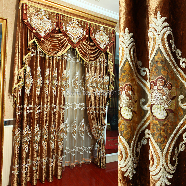 Modern high end European luxury blackout curtains with sheer and ...