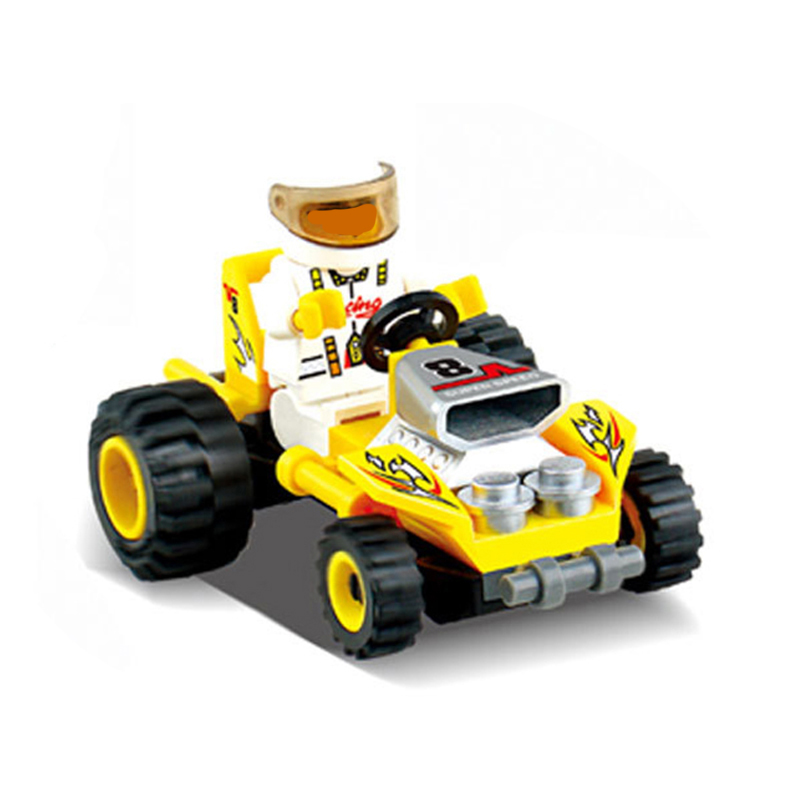 27pcs Racing Car Model Building Block Construction Diy Brick Toys Enlighten Toy For Children Car Toys for Boys K2973-6812 electric track racing car 1 43 620cm rail road roller double rc toy for boys gift kids toy cars educational toys for children