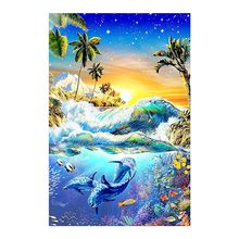 Dolphin animal Moge Diamond Painting Full Round sea world scenic New DIY Toy sticking drill cross embroidery 5D home decoration