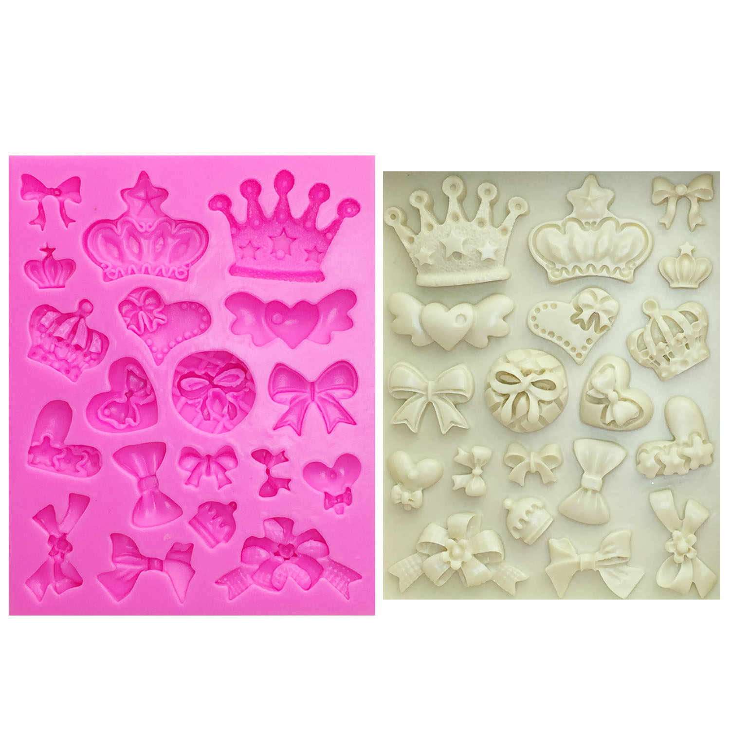 M0226 Cartoon Crown & Bow Tie Silicone Fondant Cake Mold Cupcake Jelly Candy Chocolate cake Decoration Baking Tool Moulds