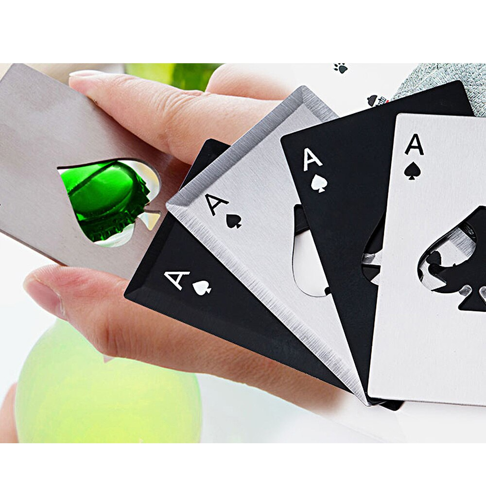NEW Stainless Steel Portable Bottle Opener Poker Opener Playing Card Of Spades Soda Beer Bottle Cap Opener Camping Multi Tools