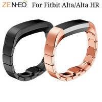 Correa de reloj de acero inoxidable para Fitbit Alta/Alta HR, hebilla de mariposa, pulsera de repuesto, relojes inteligentes de muñeca, bandas de Alta calidad