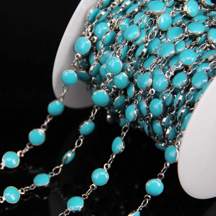Überzogene Silber Kupfer ketten, Türkisen Verkrustete Blau Lampwork 6mm Flache Runde Perlen Rosenkranz Ketten, emaille Münze Perlen Links Ketten Schmuck