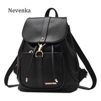 Nevenka New Spring Women Bag Preppy Backpack PU Leather Fresh Zipper Bags Solid Pendants Casual Backpacks