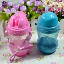 Hot Sale 280ml Cute Baby Cup Kids Children Learn Feeding Drinking Water Straw Bottle Training Cup