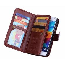 Multifunctional Handbag Pouch For Samsung S5 Case Wallet Leather Flip Cover Purse For Galaxy S5 I9600 Detachable Phone Bag Cases