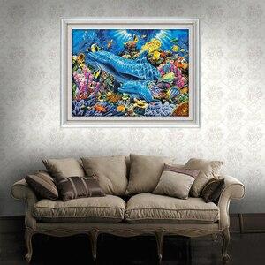 Image 2 - Joy Sunday, дельфин в море D952, большая декоративная сетка для гостиной, вышивка своими руками, вышивка крестиком 11CT 14CT