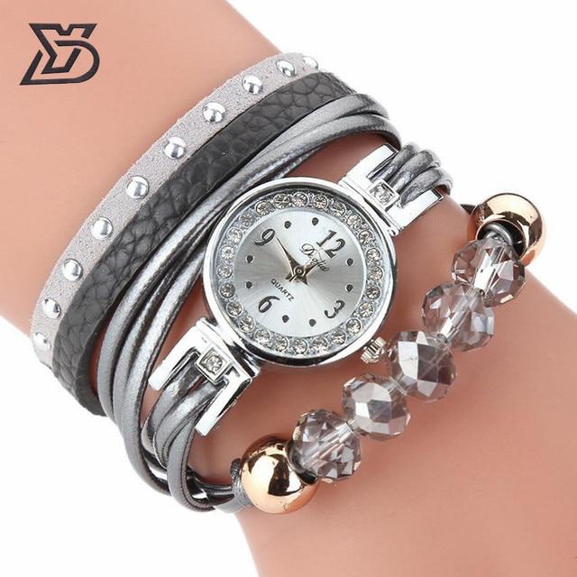 d895160f842 Duoya Nova Marca de luxo bracelete de cristal relógios mulheres Relogio  feminino 2017 Ocasional Estilo Cinta