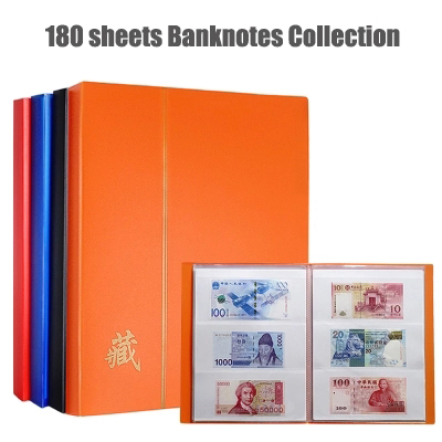 180 Banknotes Collection Album 30 Sheets 60P 21*28.5CM Protection Book Currency Commemorative Paper Money Collecting