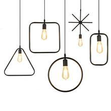 Modern black cage pendant lights iron minimalist retro Scandinavian loft pyramid pendant lamp metal Hanging Lamp E27 Indoor