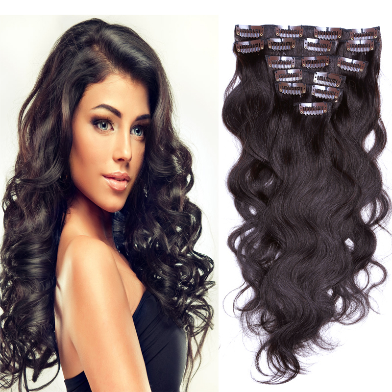 Double Weft Clip In Human Hair Extesnion 200g Clip In Body Wavy
