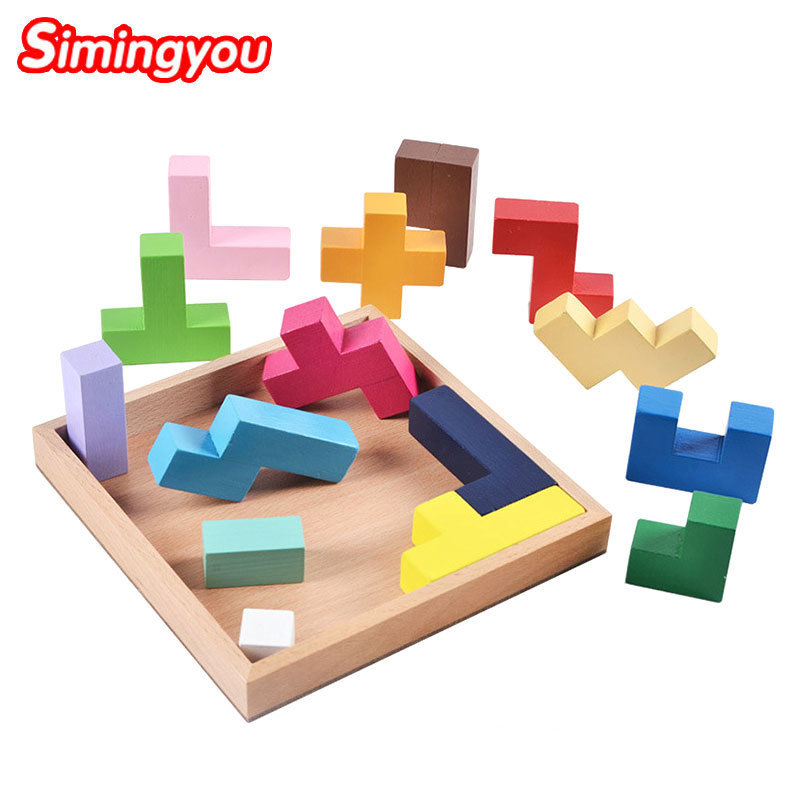 Simingyou Wooden Tetris Game Educational Jigsaw Puzzle Toys Preschool Children Kids Toys A50-08 Drop Shipping