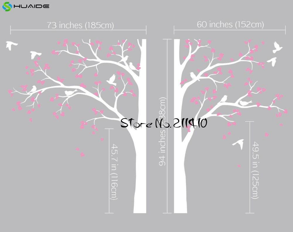Stickers muraux arbre blanc grand arbre avec oiseaux Stickers muraux pour chambre d'enfants bébé pépinière Art Mural Vinilos Paredes Mural JW191A - 5