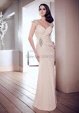 Prom kleider 2015 neue mode perlen flügelärmeln chiffon lange partykleider sexy schatz hals abendkleid vestido de festa