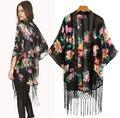 Fashion Vintage Ethnic Floral Loose Kimono Cardigan Tassels Shirts Blouses Tops