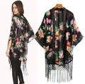 Moda Vintage Étnico Floral Solto Kimono Cardigan Borlas Camisas Blusas Tops